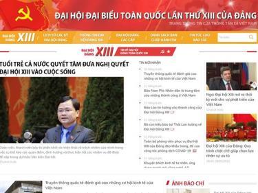 Giao diện trang thông tin điện tử về Đại hội Đảng XIII của TTXVN.