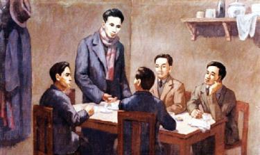 Hội nghị thành lập Đảng Cộng sản Việt Nam ngày 3/2/1930 (Ảnh chụp lại tranh của họa sĩ Phi Hoanh tại Bảo tàng Lịch sử Quốc gia).