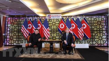 Tổng thống Mỹ Donald Trump và nhà lãnh đạo Triều Tiên Kim Jong-un tại cuộc gặp thượng đỉnh lần thứ hai.