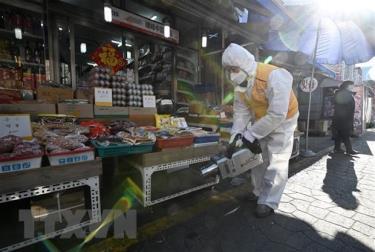 Phun thuốc khử trùng nhằm ngăn chặn sự lây lan của COVID-19 tại khu chợ ở Seoul, Hàn Quốc, ngày 5/2/2020.