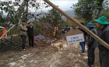 Chốt kiểm dịch tạm thời được lập tại chòm Cang Chua, thôn Tàng Ghênh, xã Pá Lau để phòng tránh dịch bệnh lở mồm long móng lây lan ra diện rộng.