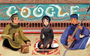 Tranh vẽ biểu diễn Ca trù của họa sĩ Xuân Lê được Google chọn vinh danh.