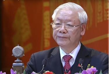 Tổng Bí thư, Chủ tịch nước Nguyễn Phú Trọng đọc diễn văn quan trọng bế mạc Đại hội.