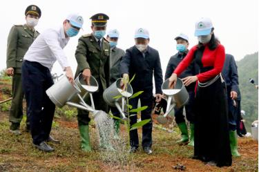 Secretary of Yen Bai's Party Committee Do Duc Duy and leading officials of Yen Binh district participate in tree planting.