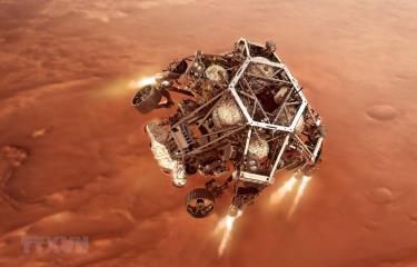 Hình ảnh mô phỏng tàu thăm dò Perseverance tiến gần tới bề mặt sao Hỏa. Ảnh do NASA cung cấp.