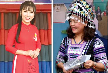 Businesswomen Nguyen Thi Khuyen (L) and Lam Thi Kim Thoa