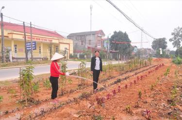 Người dân xã Đào Thịnh huyện Trấn Yên chăm sóc cảnh quan khu vực trung tâm xã.