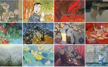 Hình ảnh một số tác phẩm sẽ được đấu giá online.