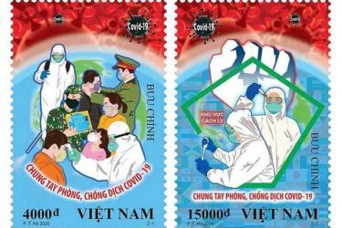 """Hai mẫu của bộ tem """"Chung tay phòng, chống dịch Covid-19"""""""