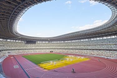 Sân vận động mới được xây dựng phục vụ Olympic Tokyo 2020 tại Nhật Bản.