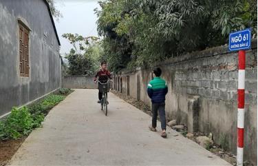 Công trình bê tông hóa tuyến đường liên tổ thôn Bản Lè, tổ dân phố 6 và tổ dân phố 9  phường Trung Tâm, thị xã Nghĩa Lộ chào mừng đại hội đảng bộ các cấp.