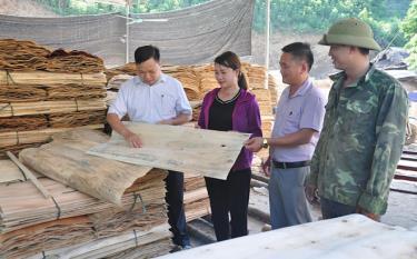 Xưởng sản xuất gỗ bóc của gia đình anh Lý Văn Yên tại thôn Khe Riềng, xã Quang Minh, huyện Văn Yên tạo công ăn việc làm ổn định cho nhiều lao động địa phương.