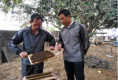 Ông Nguyễn Khánh Toàn (bên trái) chia sẻ kinh nghiệm nuôi ong với bà con trong tổ dân phố 3.