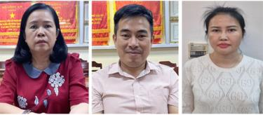 Các bị can (từ trái qua phải): Bùi Thị Lệ Phi, Lương Tấn Thành, Hoàng Thị Thúy Nga