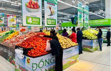 Nông sản Hải Dương được bày bán tại các siêu thị lớn.