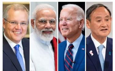 (Từ trái sang phải) Thủ tướng Australia Scott Morrison, Thủ tướng Ấn Độ Narendra Modi, Tổng thống Mỹ Joe Biden, Thủ tướng Nhật Bản Yoshihide Suga.