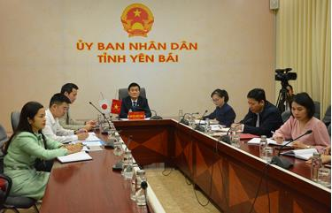 Yen Bai officials at the online working session.
