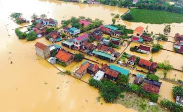 Thiên tai gây ngập lụt tại huyện Chương Mỹ vào năm 2018