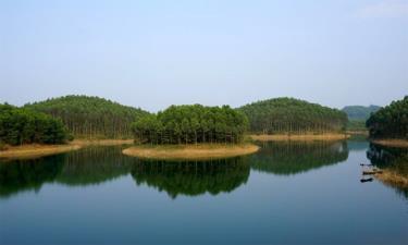 Đảo xanh trên hồ Thác Bà.