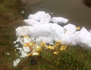 Hàng chục bao tải nghi chứa ma túy bị phát hiện khi đang vận chuyển qua xã Quỳnh Thuận, huyện Quỳnh Lưu, Nghệ An.