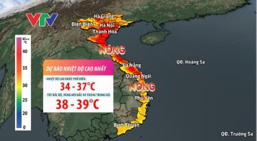 Khu vực Tây Bắc Bộ và vùng núi các tỉnh Bắc và Trung Trung Bộ nắng nóng gay gắt, nhiệt cao 38-39 độ C, có nơi trên 40 độ C.