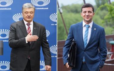 Tổng thống Poroshenko (trái) và diễn viên hài Zelensky.