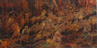 """Các chiến sĩ kéo pháo vượt đèo trong tác phẩm hội họa trưng bày tại triển lãm """"Điện Biên năm ấy""""."""