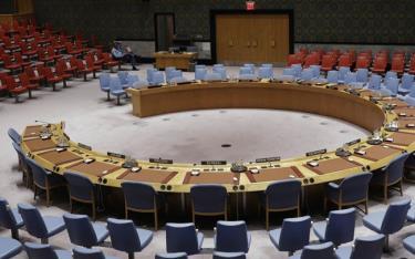 Khu vực họp của HĐBA lúc vắng người.