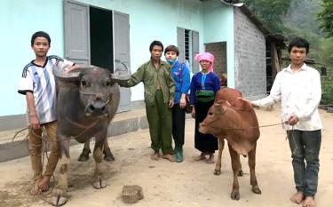 Gia đình anh Lò Văn Toàn được chị Đinh Thị Điệp kết nối hỗ trợ xây dựng ngôi nhà mới và trao tặng vật nuôi có giá trị.