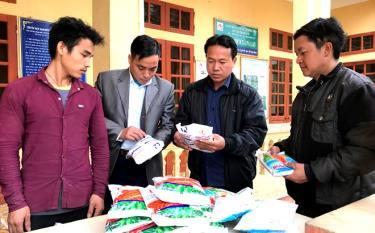 Lãnh đạo xã Pá Lau, huyện Trạm Tấu kiểm tra việc cấp ngô giống cho người dân theo chính sách hỗ trợ của Nhà nước.