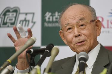 Giáo sư ĐH Meijo Isamu Akasaki trả lời các câu hỏi trong cuộc họp báo ngày 10-10-2014 tại Đại học Nagoya, miền trung Nhật Bản.