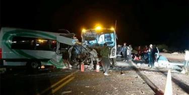 Hiện trường vụ tai nạn ở Caborca.