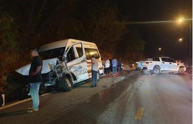 Hiện trường vụ tai nạn giao thông liên hoàn ngày 26/2/2021 trên đèo Bảo Lộc (đoạn qua huyện Đạ Huoai, Lâm Đồng) khiến nhiều ô tô bị hư hỏng.
