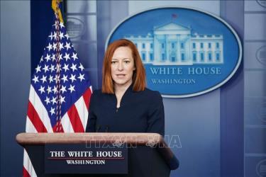 Phát ngôn viên Nhà Trắng Jen Psaki phát biểu tại cuộc họp báo ở Washington, DC. Ảnh: AFP/TTXVN