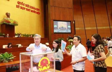 Các đại biểu Quốc hội bỏ phiếu bổ nhiệm một số thành viên của Chính phủ.