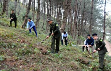 Kiểm lâm huyện Trạm Tấu cùng các lực lượng của xã Bản Công tham gia làm đường băng cản lửa PCCCR tại khu rừng trồng phòng hộ thôn Bản Công.