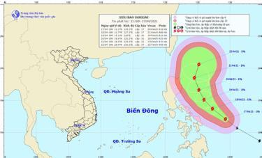 Vị trí và hướng di chuyển của siêu bão Surigae. (Ảnh: NCHMF).