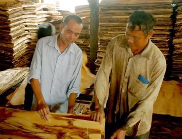 Ông Phạm Minh Hoạt (trái) ở thôn Trung Tâm, xã Mông Sơn đầu tư xưởng bóc gỗ, tạo việc làm và thu nhập cho lao động địa phương, là điển hình tiên tiến học tập và làm theo tư tưởng, đạo đức, phong cách Hồ Chí Minh.