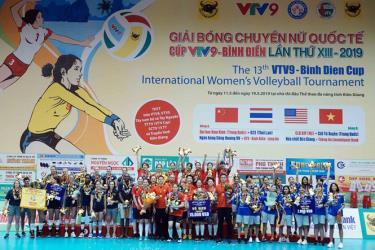 Tứ Xuyên (áo đỏ) đăng quang giải bóng chuyền VTV9-Bình Điền 2019