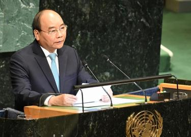 Thủ tướng Nguyễn Xuân Phúc phát biểu tại phiên thảo luận cấp cao Đại hội đồng Liên hợp quốc ngày 28/9/2018. (