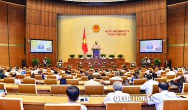 Quốc hội họp phiên toàn thể tại hội trường nghe trình bày báo cáo giải trình, tiếp thu, chỉnh lý và thảo luận về dự án Luật Kiến trúc.