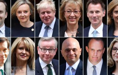 Cựu Ngoại trưởng Anh Boris Johnson (thứ 3 trái -trên) và các ứng cử viên có thể thay thế Thủ tướng Anh Theresa May.