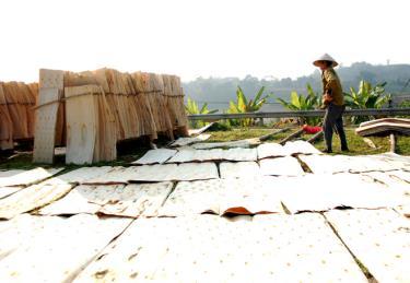 Người dân ở nhiều xã của huyện Văn Yên có thu nhập cao nhờ chế biến gỗ rừng trồng. Ảnh MQ