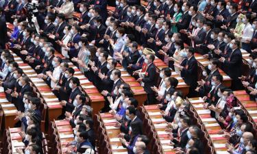Các đại biểu dự phiên bế mạc kỳ họp quốc hội thường niên tại Đại lễ đường Nhân dân ở Bắc Kinh hôm nay.