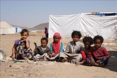 Trẻ em tại một trại tị nạn ở Marib, Yemen ngày 18/2/2021.