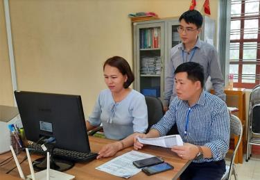 Tổng điều tra tại Trường Mầm hon Hồng Ngọc thị trấn Yên Thế. (Ảnh chụp trước ngày 28/4)