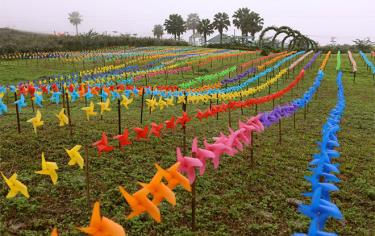 Du khách tham quan tại bình nguyên xanh Khai Trung, huyện Lục Yên.  (Ảnh: Thanh Miền)