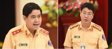 Trung tướng Vũ Đỗ Anh Dũng - Cục trưởng Cục CSGT (trái), Đại tá Đỗ Thanh Bình - Phó Cục trưởng Cục CSGT (phải).