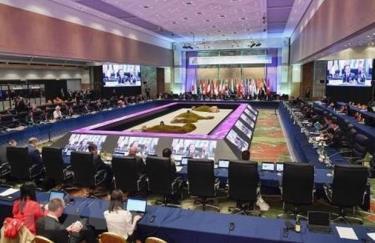 Trong ảnh: Các bộ trưởng năng lượng và môi trường của Nhóm G20 tại cuộc họp ở Karuizawa, Nhật Bản, ngày 15-6.