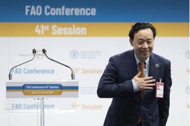 Tổng giám đốc FAO Qu Dongyu nhiệm kỳ 2019 - 2023 phát biểu cảm ơn.